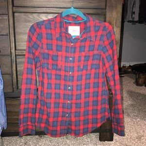 Navy and red plaid button up size medium